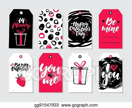 Vector Stock Valentines Day Gift Tag Vector Set Collection Of