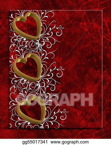 Clip Art Valentines Day Hearts Border Stock Illustration