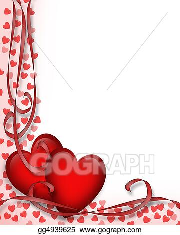 Stock Illustration Valentines Day Red Hearts Border Clipart