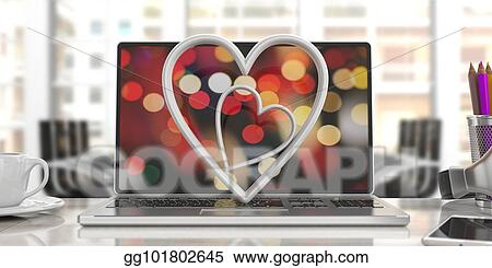 Drawing Valentine S Day White Attached Hearts On A Computer