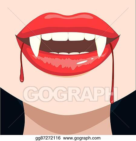 Eps Illustration Vampire Fangs Close Up Vector Clipart Gg87272116