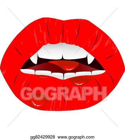 Vector Art Vampire Lips Clipart Drawing Gg82429928 Gograph
