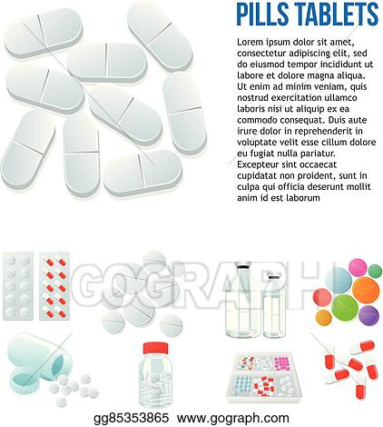 Vector Stock Variety Of Drugs And Pills Wide Range Clipart