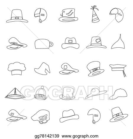 Vector Clipart - Various black hats outline icons vector set
