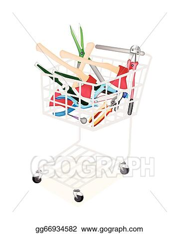 Eps Illustration Various Craft Tools In A Shopping Cart Vector