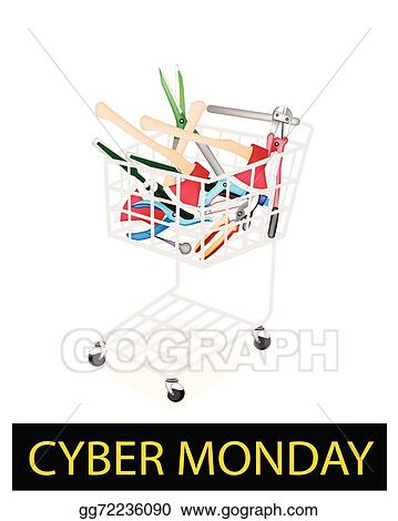 Eps Vector Various Craft Tools In Cyber Monday Shopping Cart