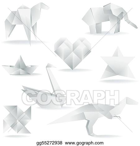 Eps Vector Various Origami Creations Stock Clipart Illustration