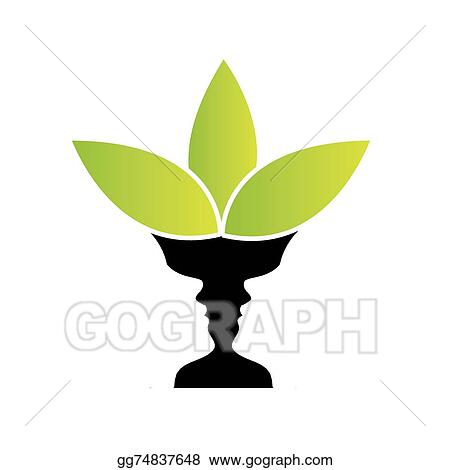 Vector Stock Vase With Illusion Of Two Faces Stock Clip Art