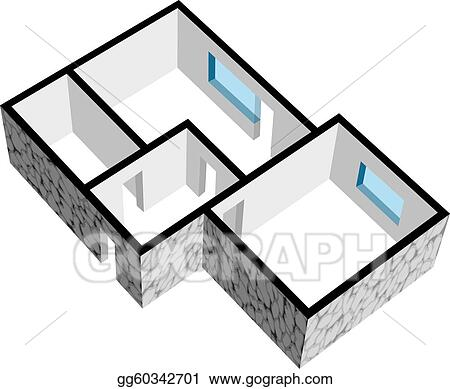 Vector Stock - Vector 3d house floor plan with stone texture ...