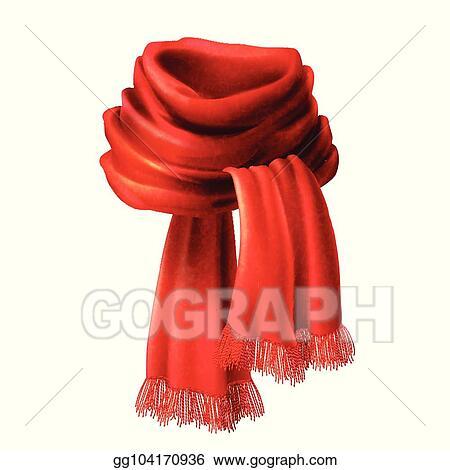 Vector Realistic Silk Velvet Red Scarf