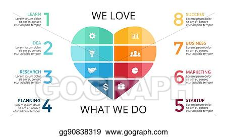 Vector illustration vector abstract heart infographic cycle vector abstract heart infographic cycle diagram graph presentation chart love work concept with 8 options parts steps processes ccuart Gallery