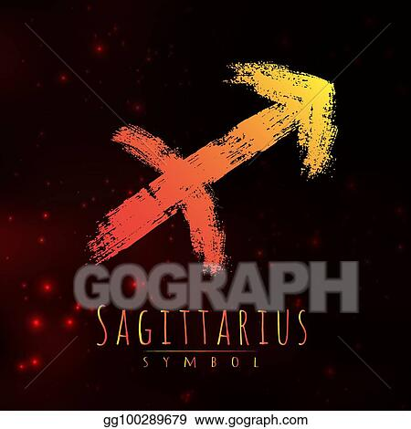 064350954 Vector abstract zodiac sign Sagittarius on a dark cosmic background of the  space with shining stars. Nebula in form of zodiac sign Sagittarius.