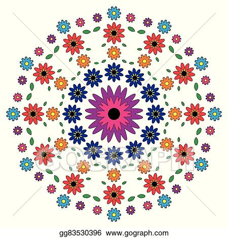 Vector Adult Coloring Book Page Circular Pattern Mandala Flowers Colored