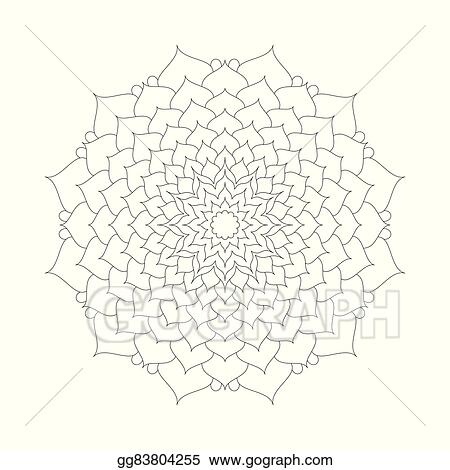 Vector Adult Coloring Book Page Circular Pattern Mandala Lotus Flower Black And White