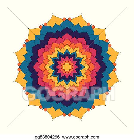 Vector clipart vector adult coloring book page circular pattern vector adult coloring book page circular pattern mandala lotus flower colored colorful floral background yellow orange red and blue colors mightylinksfo