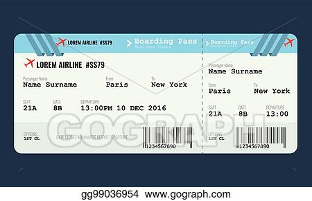 Vector Art Vector Airplane Ticket Design Template Clipart Drawing