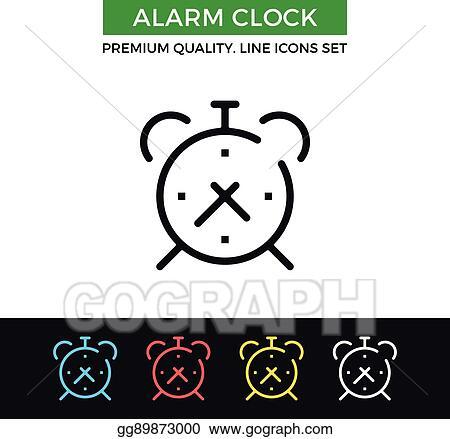 Clip Art Vector - Vector alarm clock icon  thin line icon