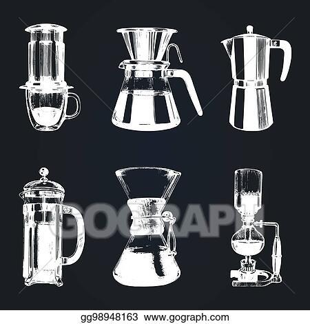 eps illustration vector alternative coffee brewing illustrations
