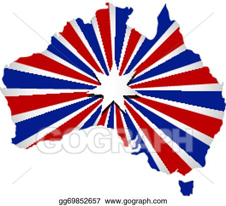Australia Map With Flag.Vector Clipart Vector Australia Map Sunburst Flag Vector