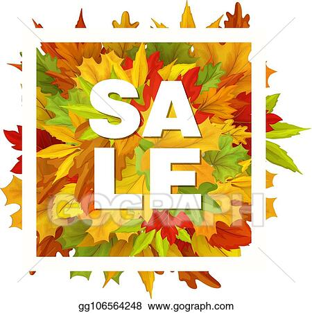 vector art vector autumn sale with falling leaves pattern clipart