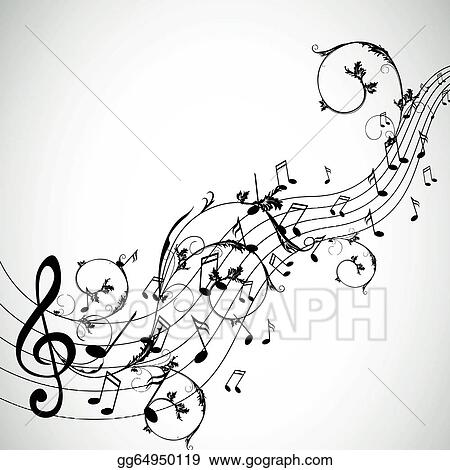 Vector Stock Vector Background With Music Notes Clipart