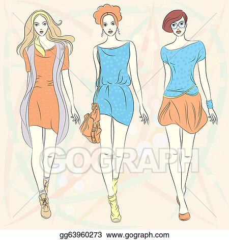 Vector Clipart Vector Beautiful Fashion Girls Top Models In Dresses Vector Illustration Gg63960273 Gograph