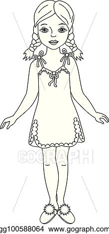 e1693c7943 Clip Art Vector - Vector beautiful young girl in nightgown and ...