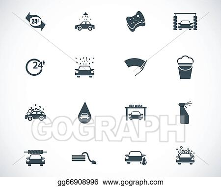 Vector Clipart Vector Black Car Wash Icons Set Vector