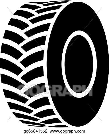 Clip Art Vector Vector Black Tractor Tyre Symbol Stock