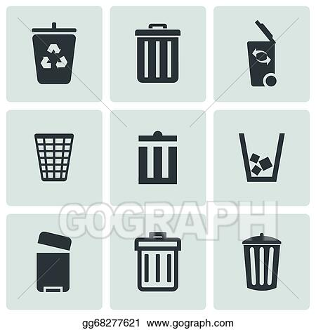 Outdoor Plastic Trash Can Icons 9 Set Csp48999084