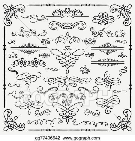 Vector Illustration - Vector black vintage hand drawn swirls ...