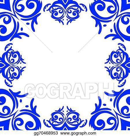 vector art vector blue frame border in damask baroque style eps