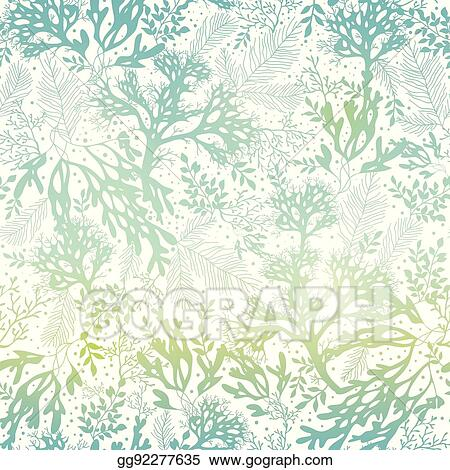 Vector Stock Vector Blue Freen Seaweed Texture Seamless Pattern