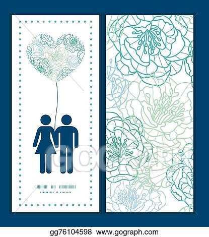 Vector Art - Vector blue line art flowers couple in love silhouettes ...
