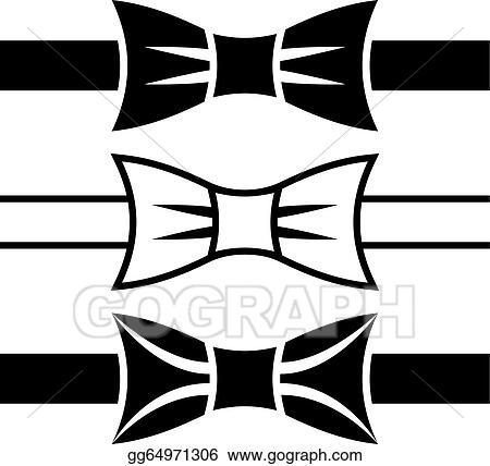 Eps Illustration Vector Bow Tie Black Symbols Vector Clipart