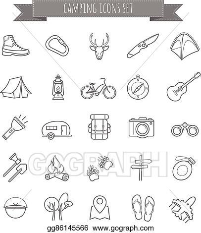 EPS Illustration - Vector camping summer icons set  Vector