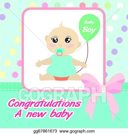 vector card new born baby boy