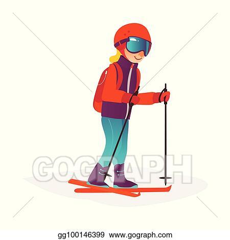 cd06e86378 Vector Stock - Vector cartoon boy skiing in goggles isolated. Stock ...