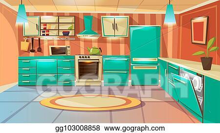 Vector Art Vector Cartoon Modern Kitchen Interior Background