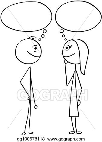 Vector Art Vector Cartoon Of Man And Woman With Empty