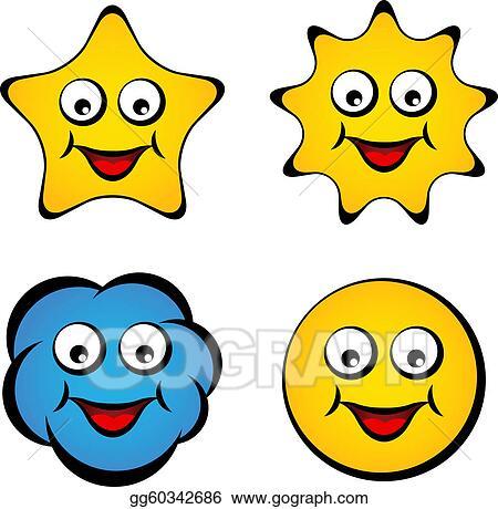 Eps Illustration Vector Cartoon Smiling Face Star Sun Cloud Smiley