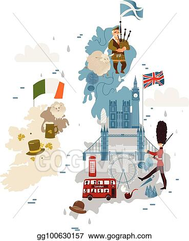 Vector Stock Vector Cartoon United Kingdom Map With National