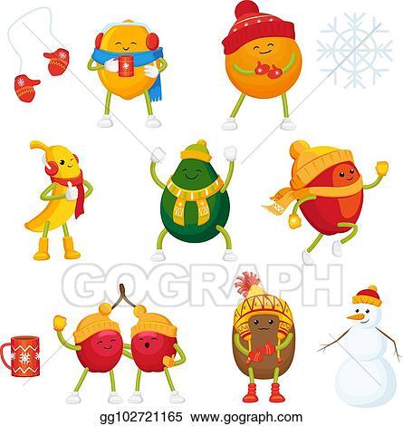 Eps Vector Vector Cartoon Winter Fruit Characters Symbols Set