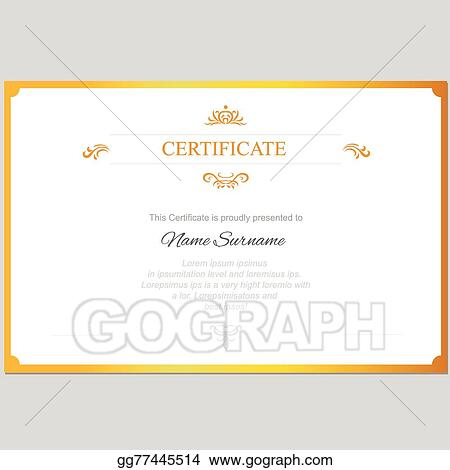 Clip Art Vector Vector Certificate Template With Gold Frame Stock