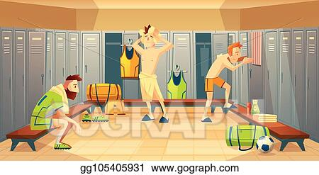 Eps vector vector changing room with football players lockers