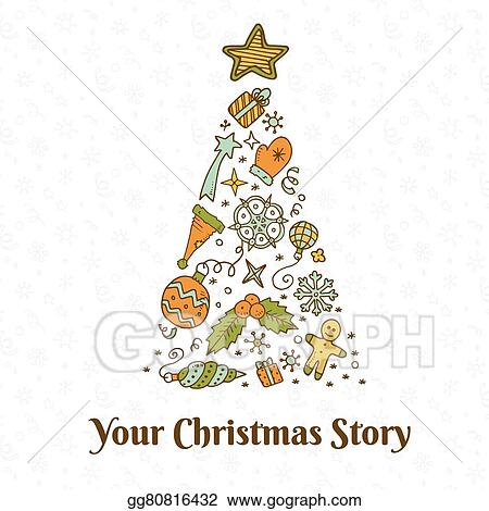 A Christmas Story Logo Vector.Vector Art Vector Christmas Doodles Clipart Drawing