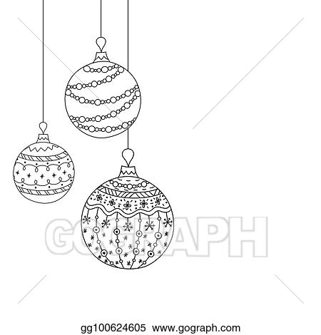 vector christmas invitation card from three christmas ball toys hand drawing christmas tree ball toys christmas new year coloring page book