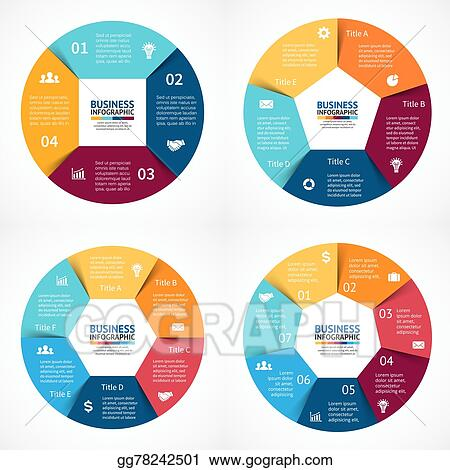Eps vector vector circle infographics set template for cycle template for cycle diagram graph presentation and round chart business concept with 3 4 5 6 options parts steps or processes abstract background accmission Images