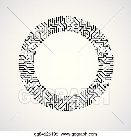 vector stock vector circuit board circle  digital technologies abstraction black and white