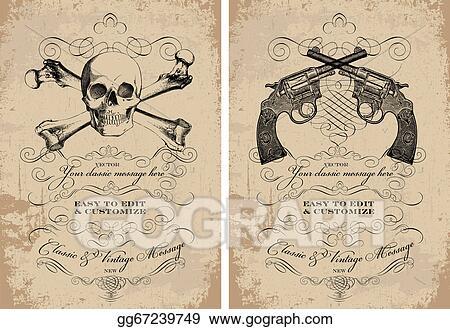Vector Art - Vector clipart skull and guns frame set. Clipart ...